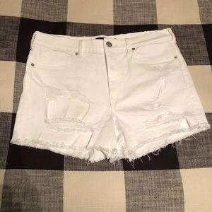 High waisted white shorts